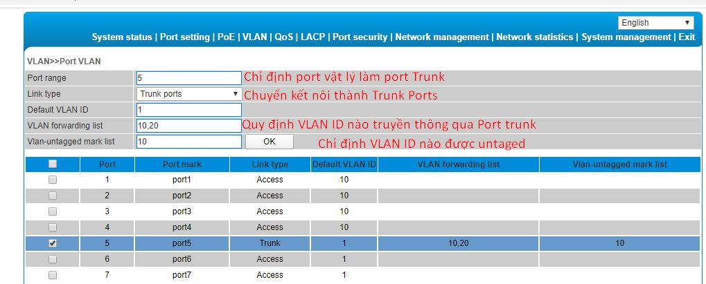 Gán trunk port -> nhấp ok để hoàn thành
