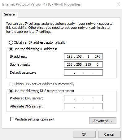 Kết nối dây mạng từ Switch đến máy tính, đặt ip máy tính như trên