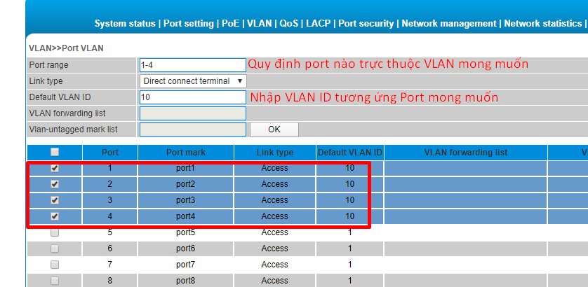 Gán Port vào VLAN, Nhấn OK để hoàn thành